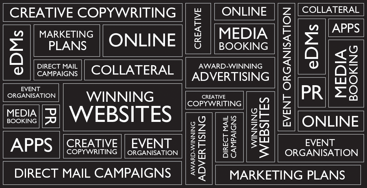 Marketing Mix, marketing plans, creative copywriting, winning websites, award-winning advertising, media booking, online, collateral, digital, apps, PR, event organisation, eDMs, direct mail campaigns, creative
